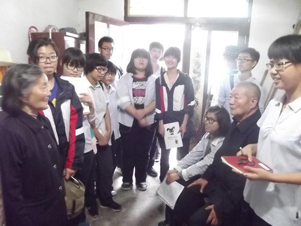 """义亭中学""""领导力开发课程班""""的同学采访""""江湾剪""""传承人"""